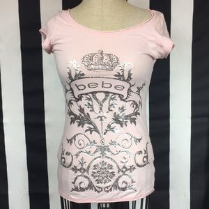 Bebe T-shirt pale pink with silver foil sz Medium